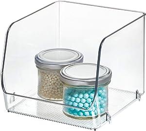 iDesign Linus Stacking Organizer Bins for Kitchen, Pantry, Office, Bathroom- Medium-Clear