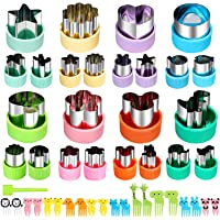 Vegetable Cutters Shapes Set, 24pcs Mini Cookie Cutters, Vegetable Cutter and Fruit Stamps Mold + 20pcs Food Picks and…