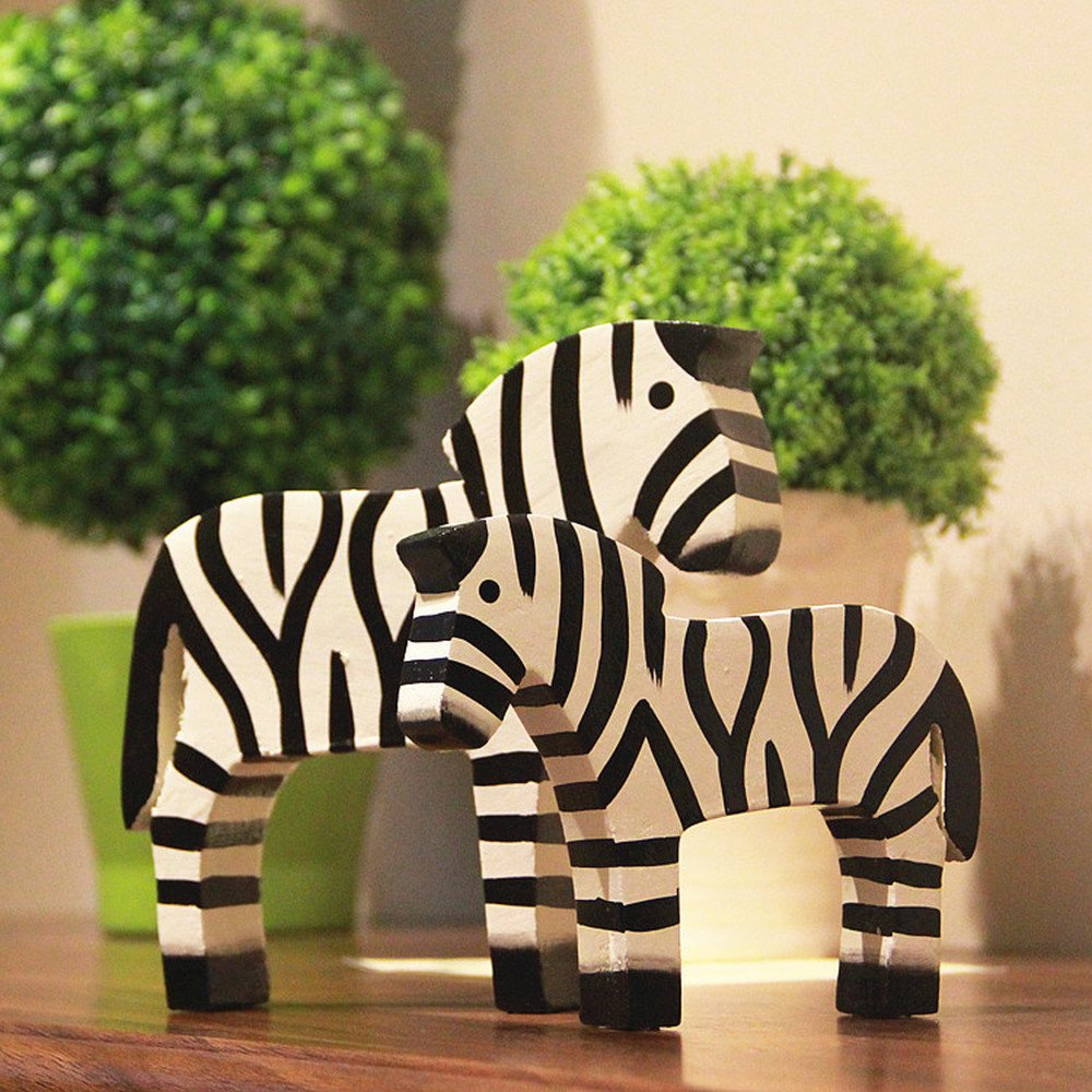 BWLZSP 1 pair Simple Classic Country Style Nordic Log Decorations Oban Set Two Raw Wood Zebras LU620118