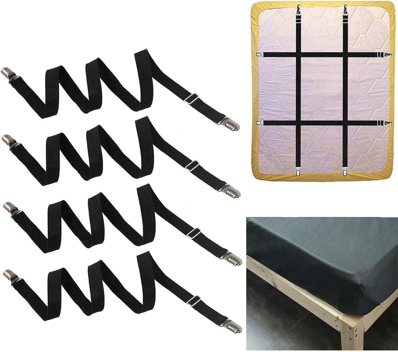 FLSLHS Clips para sábanas, sujetadores de sábanas, tirantes, clips, aptos para todos los colchones cuadrados, color negro (4 paquetes/juego)