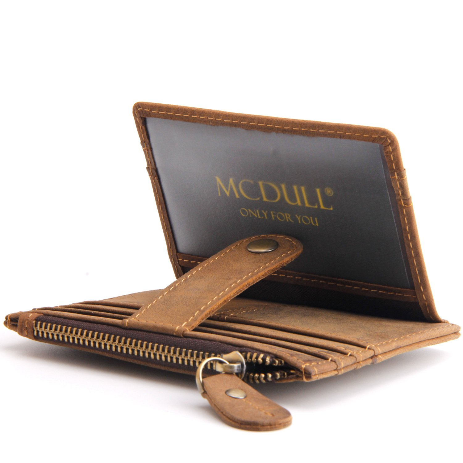 Mcdull RFID Front Pocket Wallet Mini Minimalist Business Wallet Slim Wallet Genuine Leather with Zipper &ID Window (Crazy Horse Brown L1)