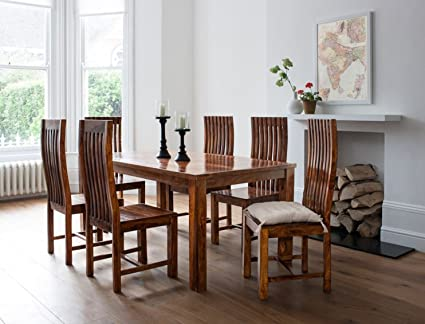 Lifeestyle Handcrafted Sheesham Wood 6 Seater Dining Set Honey