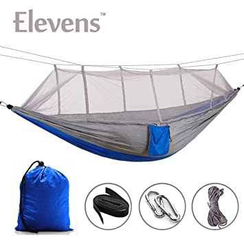 Large Hammock With mosquito Net & Straps! Perfect For On the Go! (blue