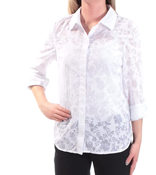 0ee6f9510 Tommy Hilfiger $60 Womens New 1677 White Floral Sheer Button Up Top ...