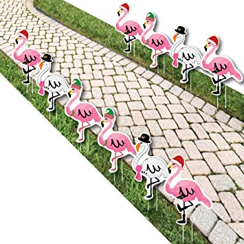 flamingle bells pink flamingo christmas lawn decorations outdoor tropical christmas yard decorations 10