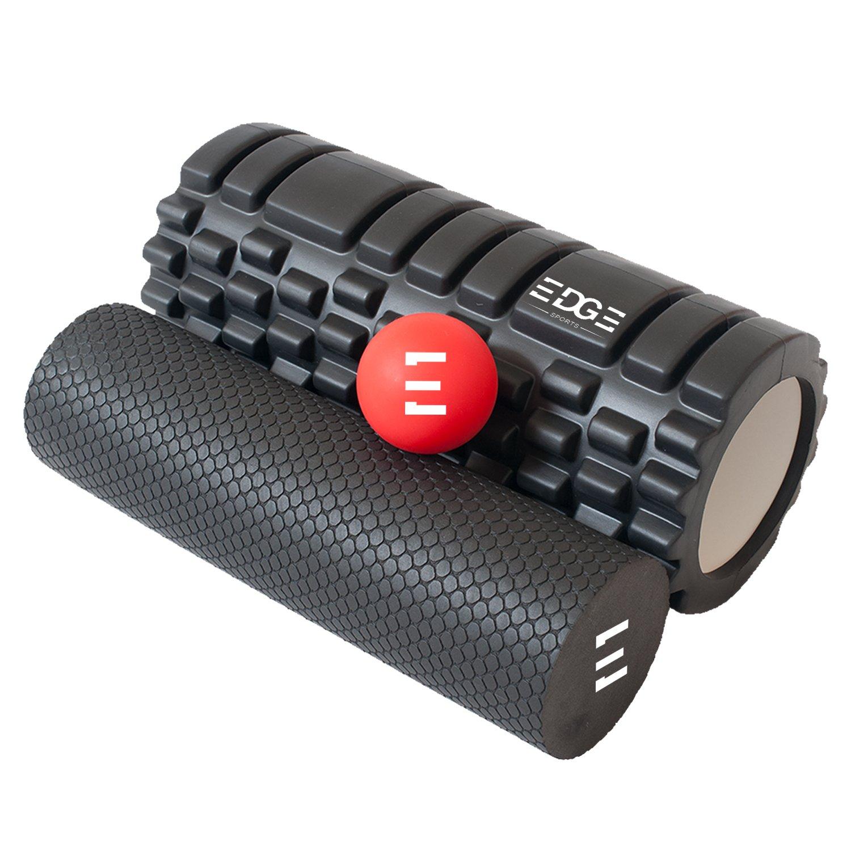 Set de rodillos de espuma ecológicos. Rodillo de alta densidad, rodillo pequeño y bola de masaje para tejidos profundos. Ideal para soltar los músculos, dolor de espalda y de piernas. Ebook gratuito. Edge Sports