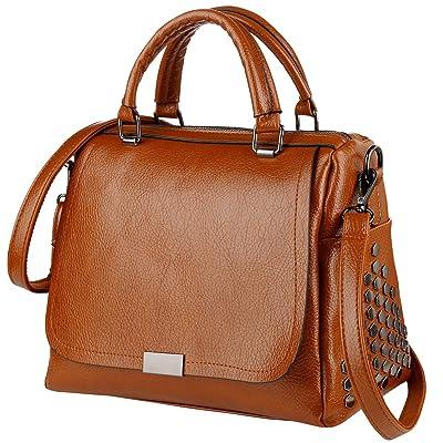 Vbiger PU Leather Handbag Top Handle Shoulder Bag Trendy Cross-body Bag Chic Messenger Bag for Women