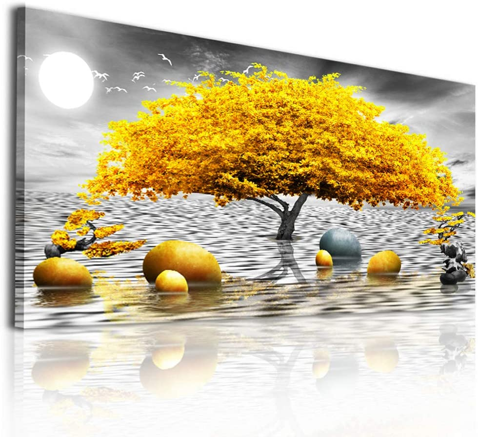 Wall decorations for living room Canvas Wall Art for bedroom Abstract wall decor Black and white Canvas Art Yellow tree paintings bathroom Home Decoration Hang Pictures Office large Wall Artworks