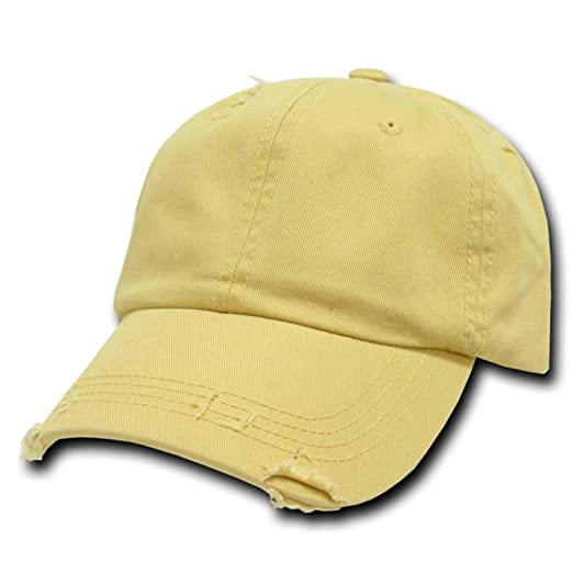 c7545a99f96 Image Unavailable. Image not available for. Color  Mustard Yellow Vintage  Distressed Polo Style Low-Profile Baseball Cap Hat