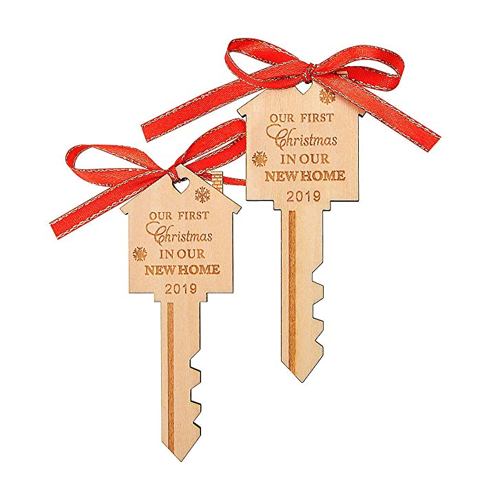 LEJHOME 2 Pcs Our First Christmas in Our New Home Key Wood Christmas Ornament 2019 Christmas Gift for Housewarming and Holiday Decoration