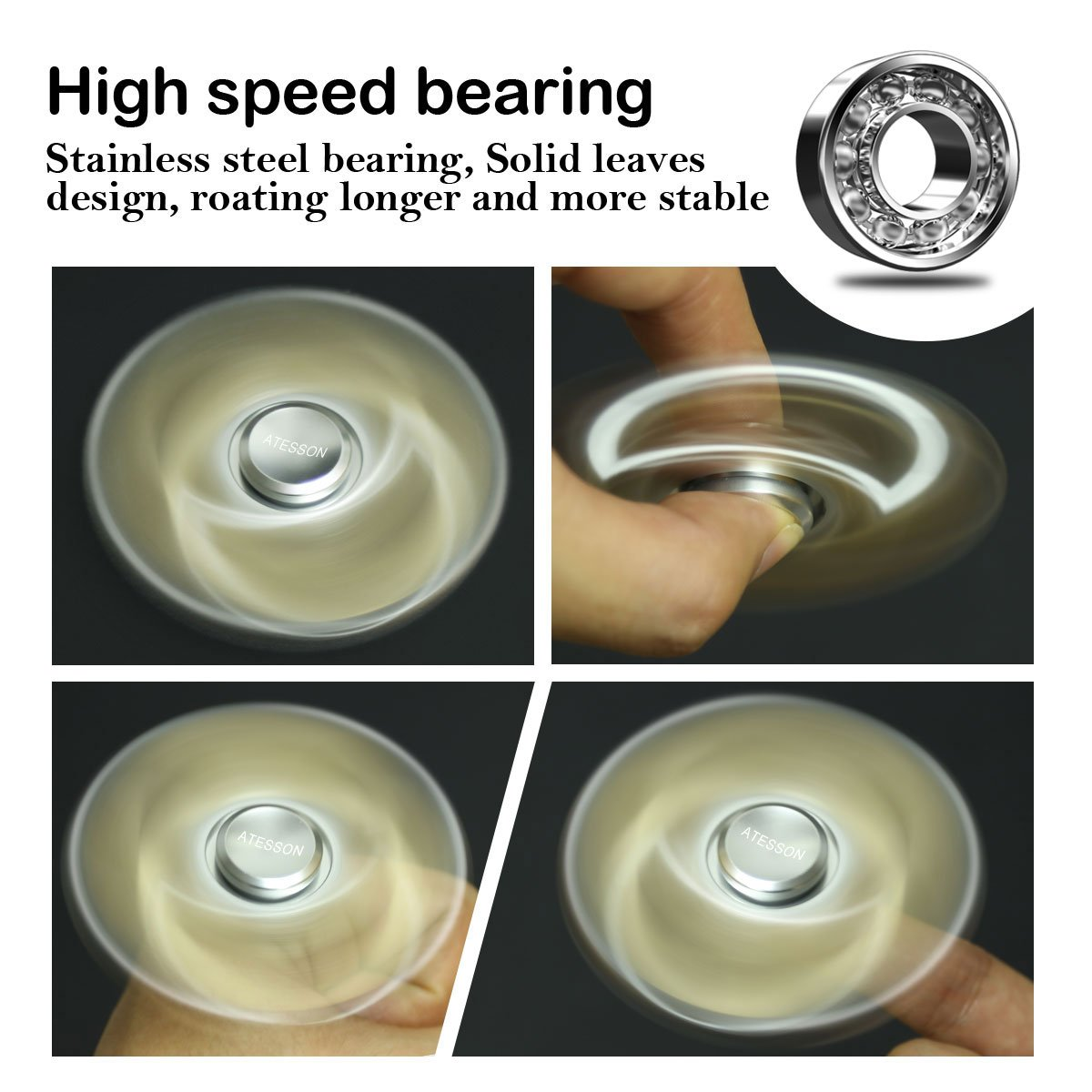ATESSON Fidget Spinner Toy 4-10 Min Spins Ultra Durable Stainless Steel Bearing High Speed Precision Metal Material Hand Spinner Focus Anxiety Stress Relief Boredom Killing Time Toys - Silver by ATESSON (Image #3)
