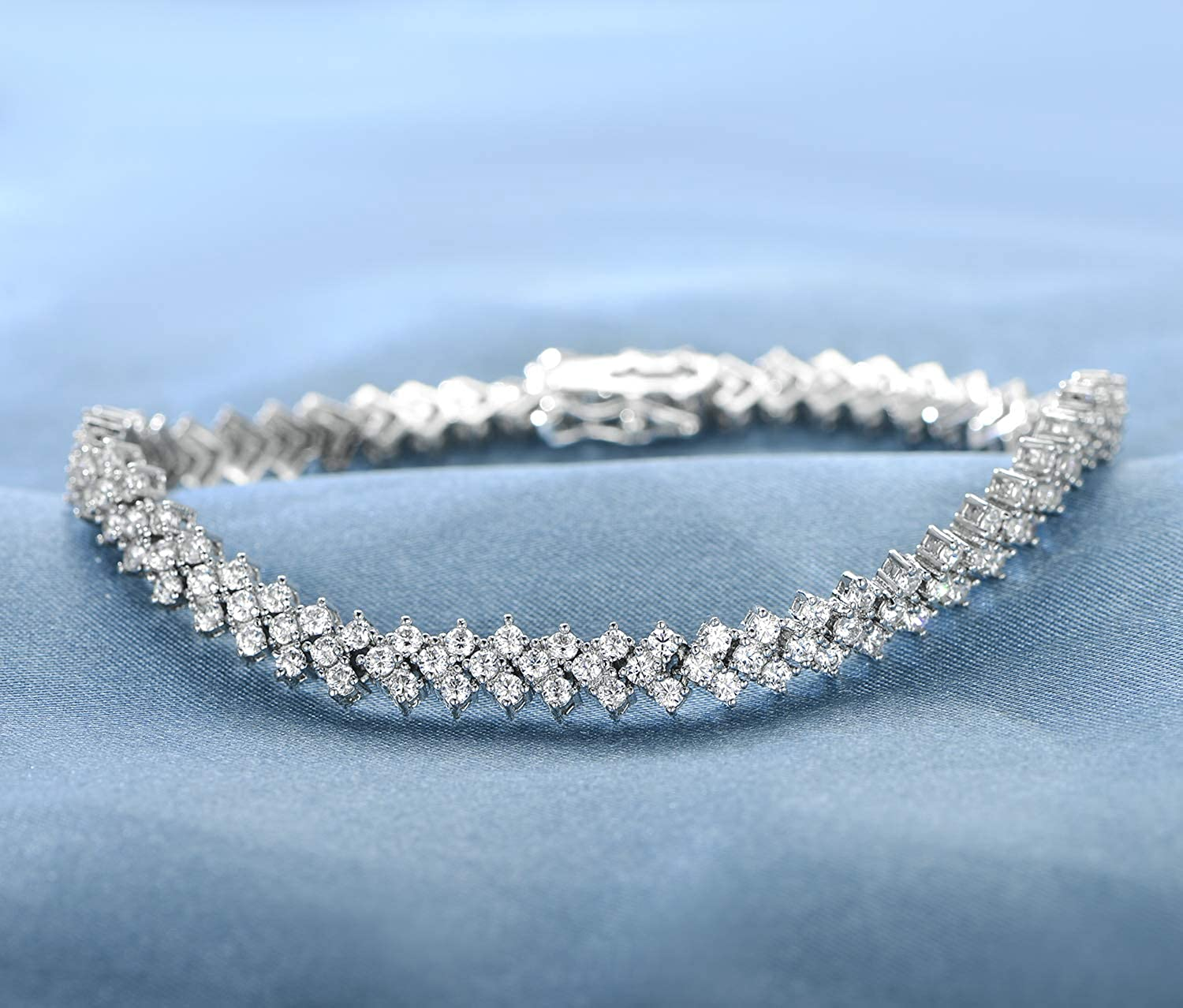 OPALBEST 18K White Gold//Gold Plated Cubic Zirconia Classic Tennis Bracelet for Women 7.5 Inch