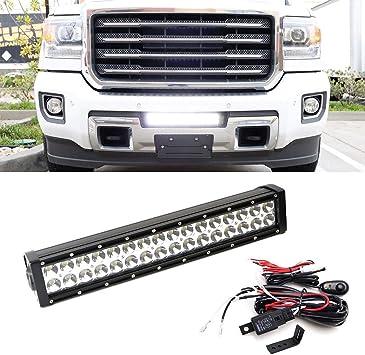 "Double 7/"" LED Light Bar+Bumper Mount Bracket For 15 Chevy Silverado 2500 3500HD"