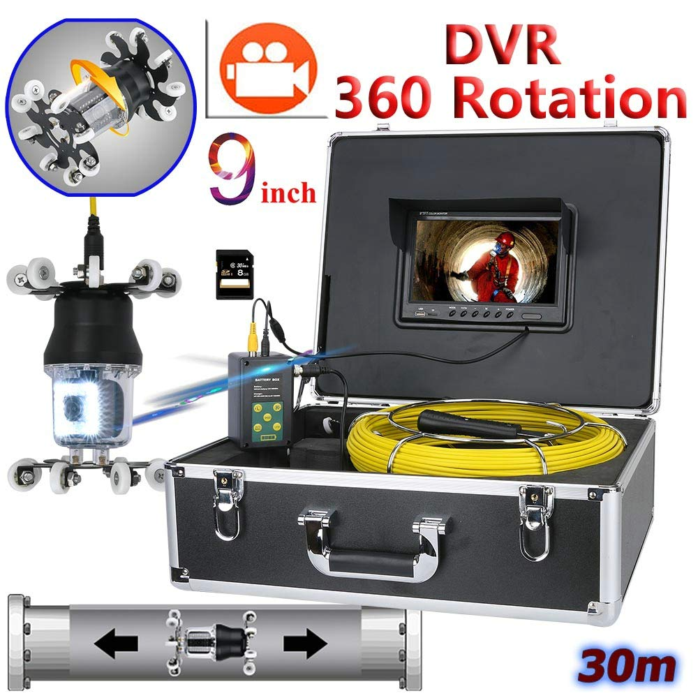 WESEAZON 9 inch DVR Recorder Pipe Inspection Video Camera Drain Sewer Pipeline Industrial Endoscope Support IP68 38 LEDs 360 Degree Rotating Camera,30M