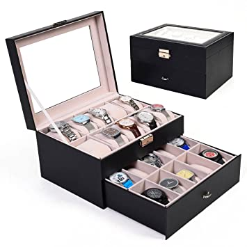 Amazoncom Large 20 Slot Leather Watch Box Display Case Organizer