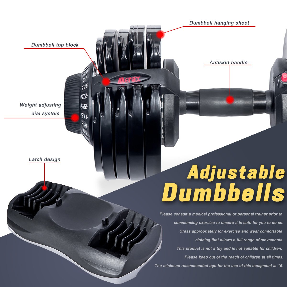 Merax Deluxe 71.5 Pounds Adjustable Dial Dumbbell (Pair. Set) by Merax (Image #4)
