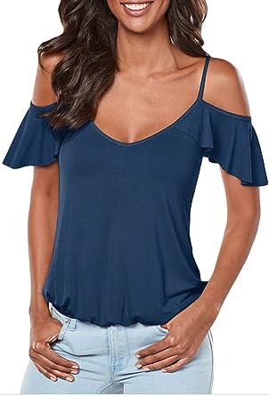 Socluer Damen Sommer Strap Schulterfrei V-Ausschnitt Kurzarm Rückenfrei  Oberteile Top Tunika T-Shirt 99eeee2fd0