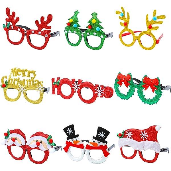 Reindeer Festive Glasses Christmas Glitter Holly Antlers Party Specs Novelty
