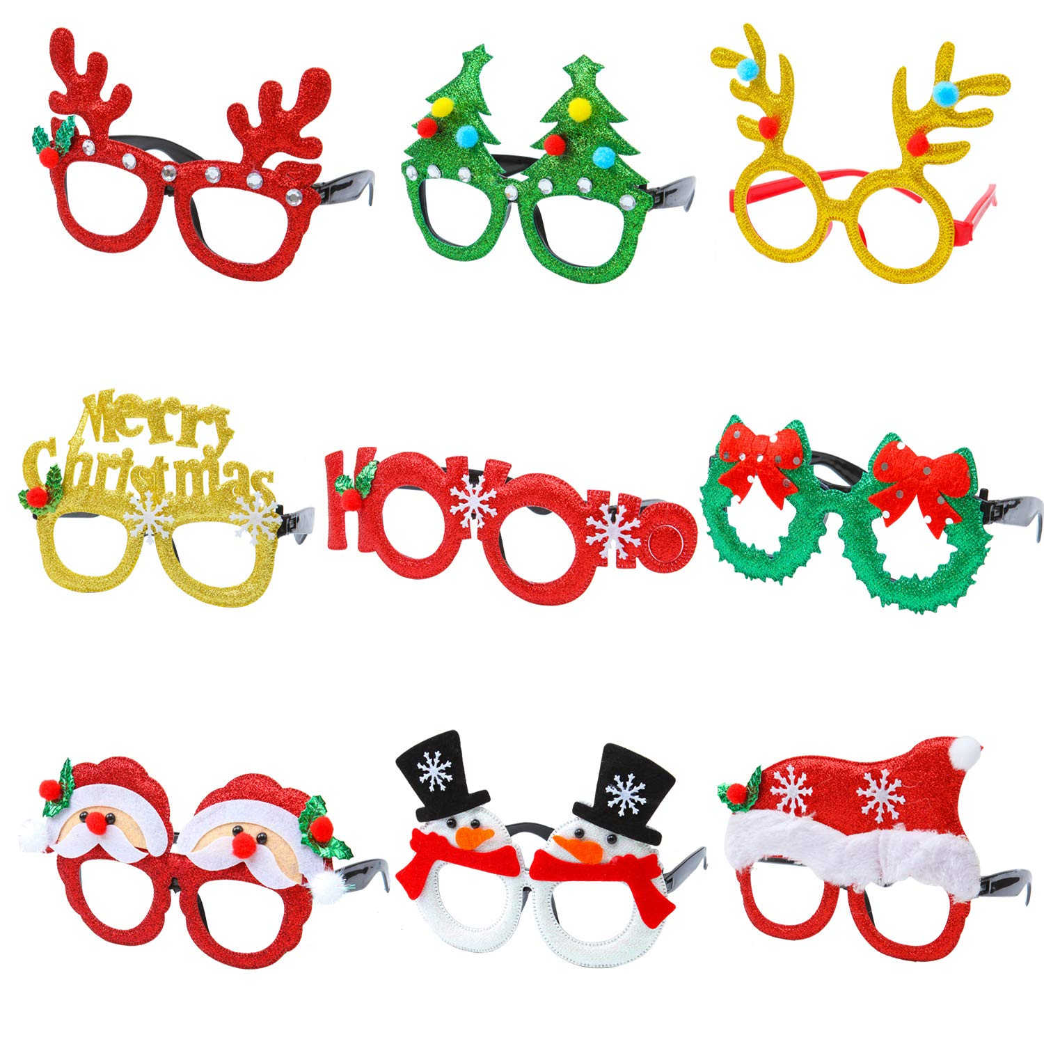 Aneco 9 Pieces Christmas Glitter Party Glasses Christmas Decoration Costume Eyeglasses Party Glasses Frame for Holiday Favors  Assorted Styles