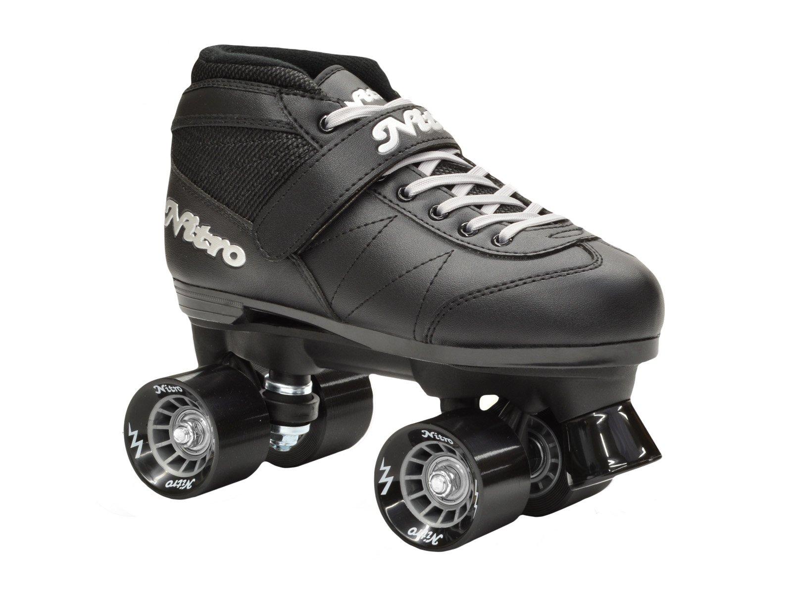 Epic Skates Super Nitro Quad Speed Skates, Black, Youth 3