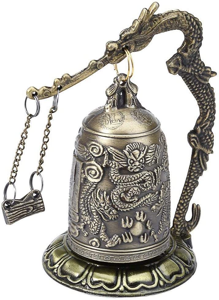 DAWEIF Vintage Style Bronze Lock Dragon Carved Buddhist Bell Good Luck Bell for Meditation Home Office Decor
