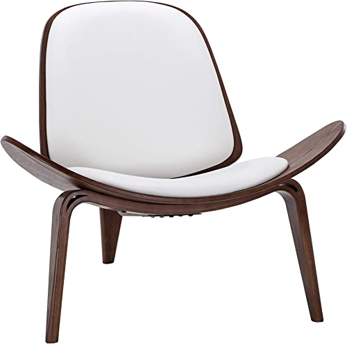 BELLEZE Mid-Century Modern Shell Side Accent Tripod Plywood Lounge Chair Walnut Upholstered Faux Leather, White