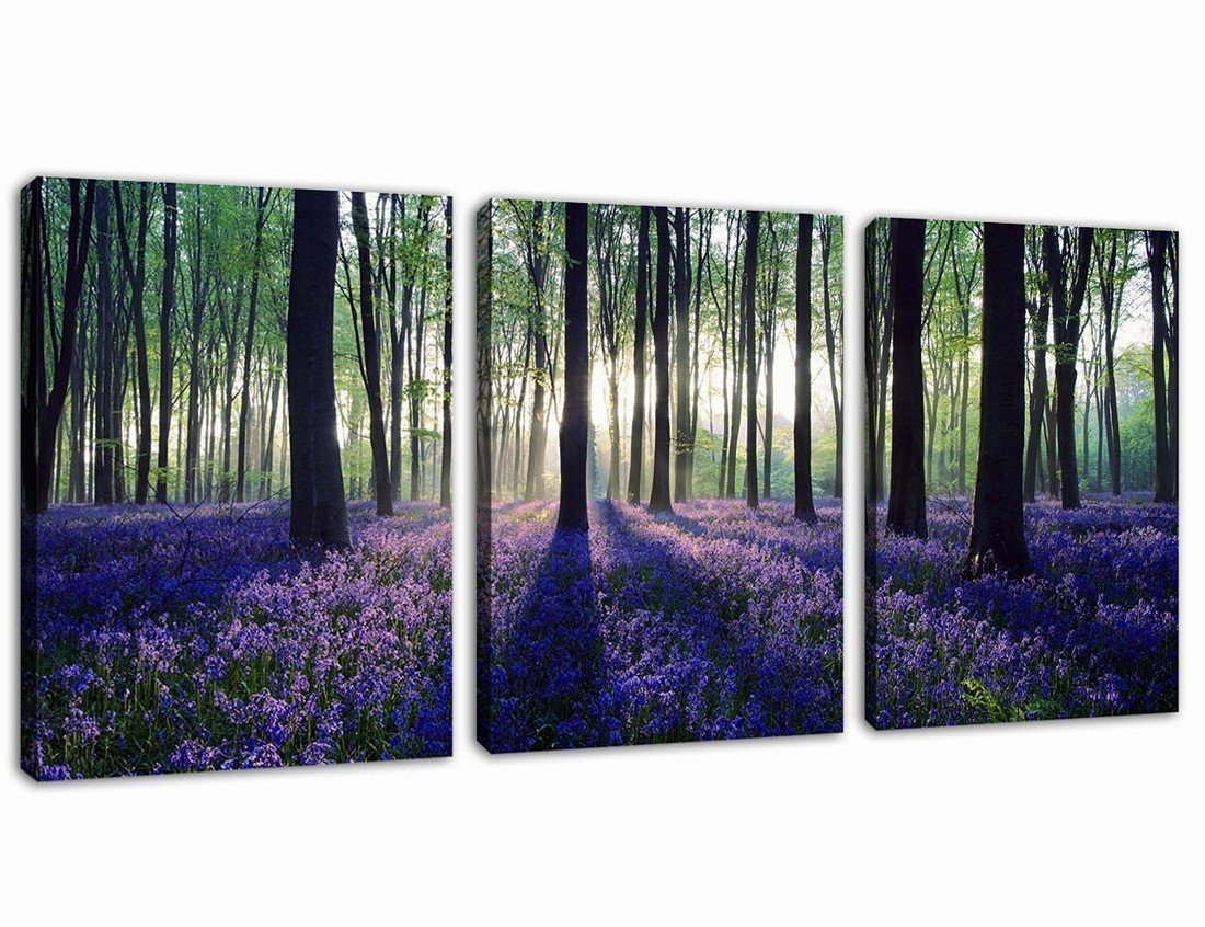 Canvas Wall Art Purple Lavender in Forest Sunshine Painting Prints - 3 Pieces 12'' x 16'' Modern Morning Woods Big Tree Landscape Contemporary Picture for Home Decoration Office Wall Decor Ready to Hang