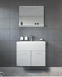 Badezimmer Schrank Montreal 131 cm Weiß Hochglanz Fronten – Regel ...