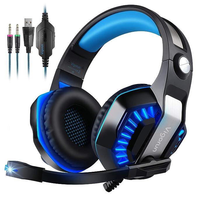 Auriculares Gaming para PC PS4 PSP Xbox One , Vigorun GameK2 Cascos Gaming, 3,5 mm Interfaz, Bass Surround Cancelación de Ruido, con Adaptador y Micrófono omnidireccional