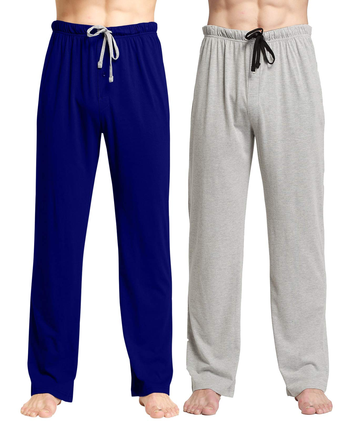 CYZ Comfortable Jersey Cotton Knit Pajama Lounge Sleep Pants-NavyGreyMelange2PK-2XL