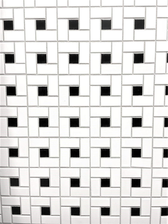 12 x 12 Squarefeet Depot Retro Pinwheel Porcelain Floor and Wall Tile White and Black Mixed