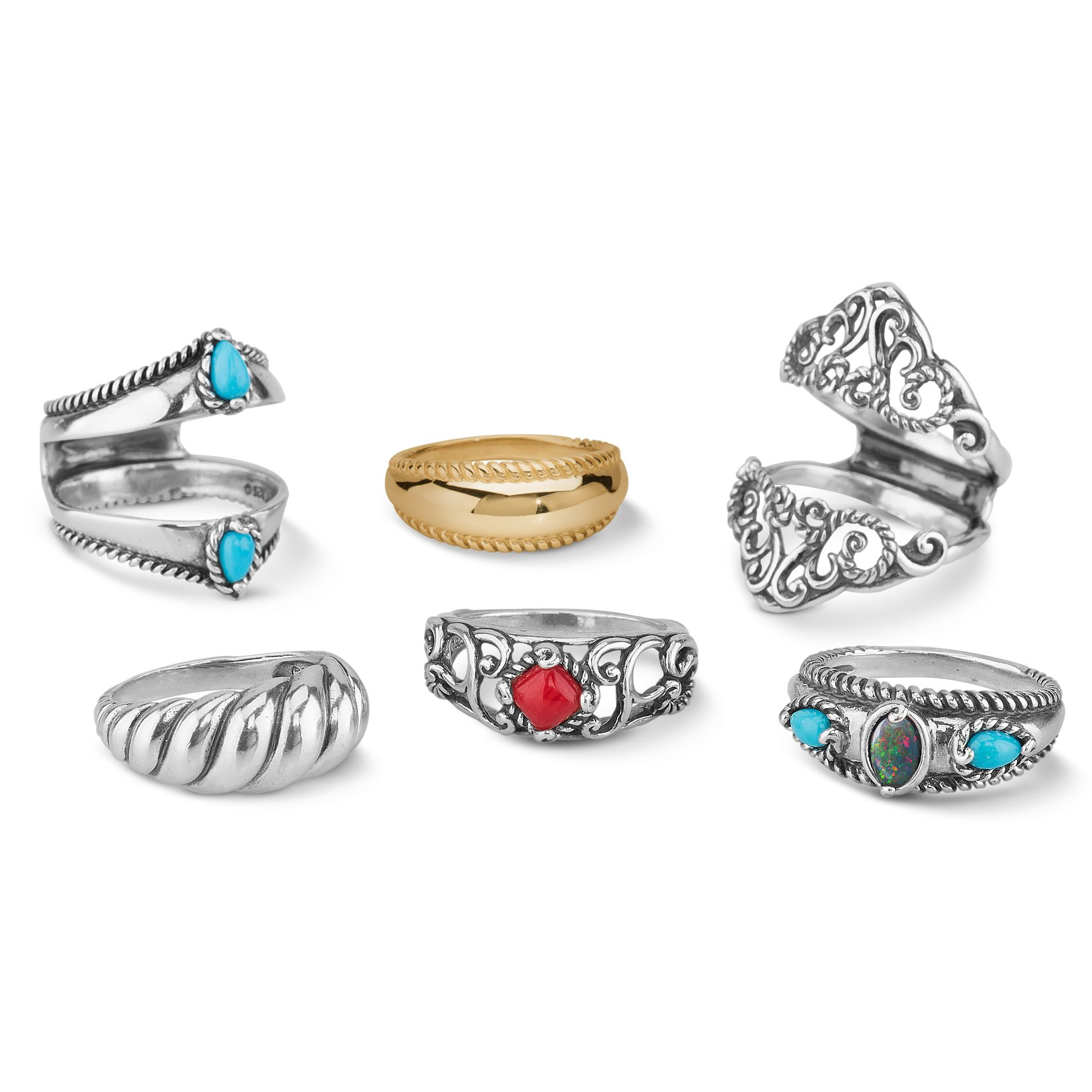 Carolyn Pollack - Sterling Silver, Brass, Turquoise, Red Coral, and Opal 6 Piece Ring Set - Size 10 - Possibilities Collection