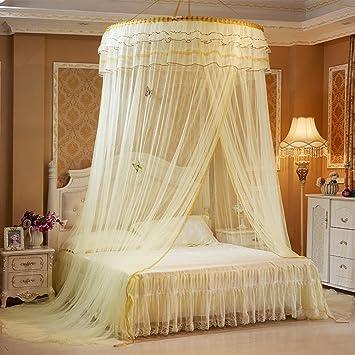 Pueri Bett Baldachin Betthimmel Runde Dome Prinzessin Hanging Mosquito Net  (Gelb)