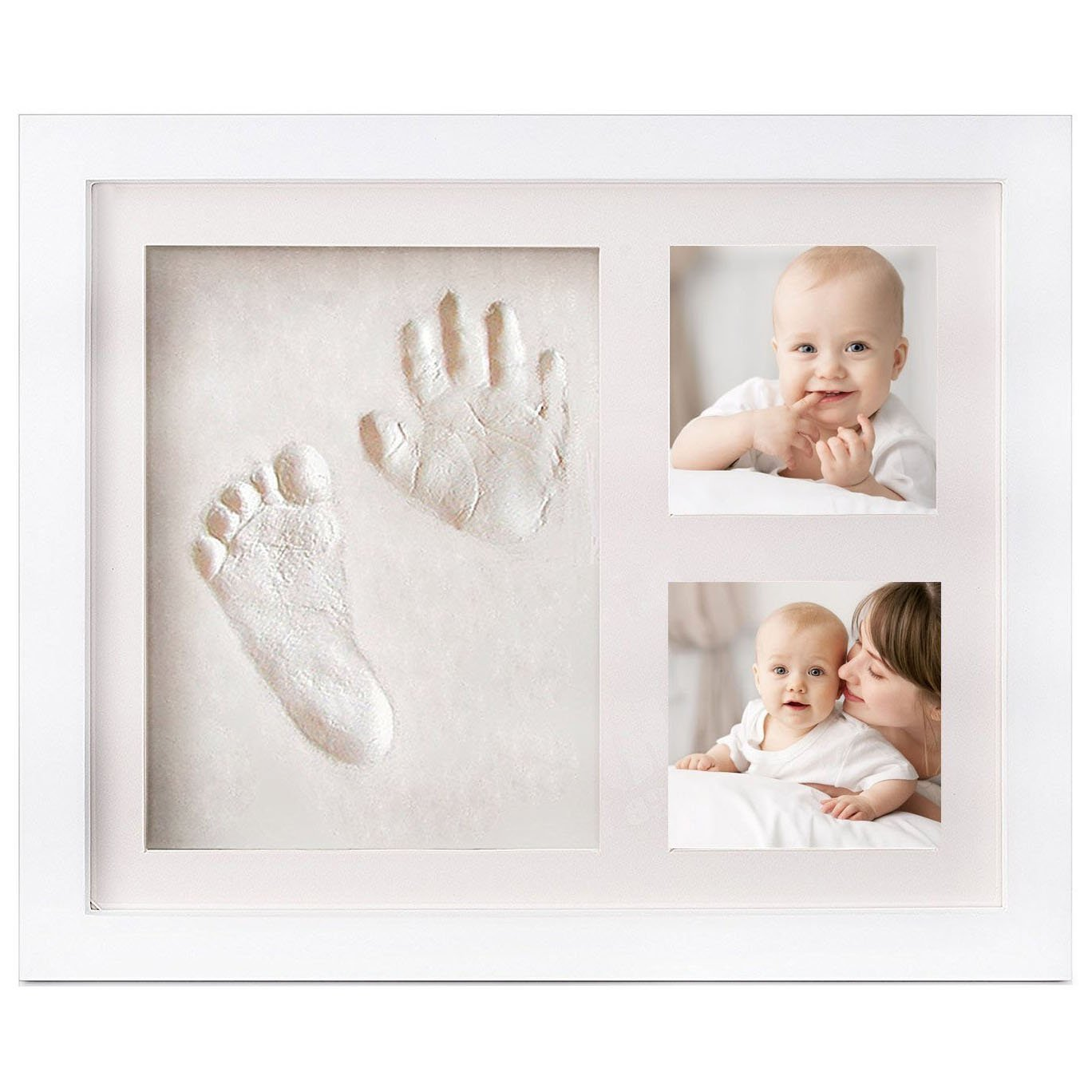 Elsatsang Best Baby Handprint and Footprint Photo Frame Kit - Baby Keepsake Preserves Priceless Memories,Non Toxic and Safe Clay ,Quality Wood Frame with Safe Acrylic Glass(White)