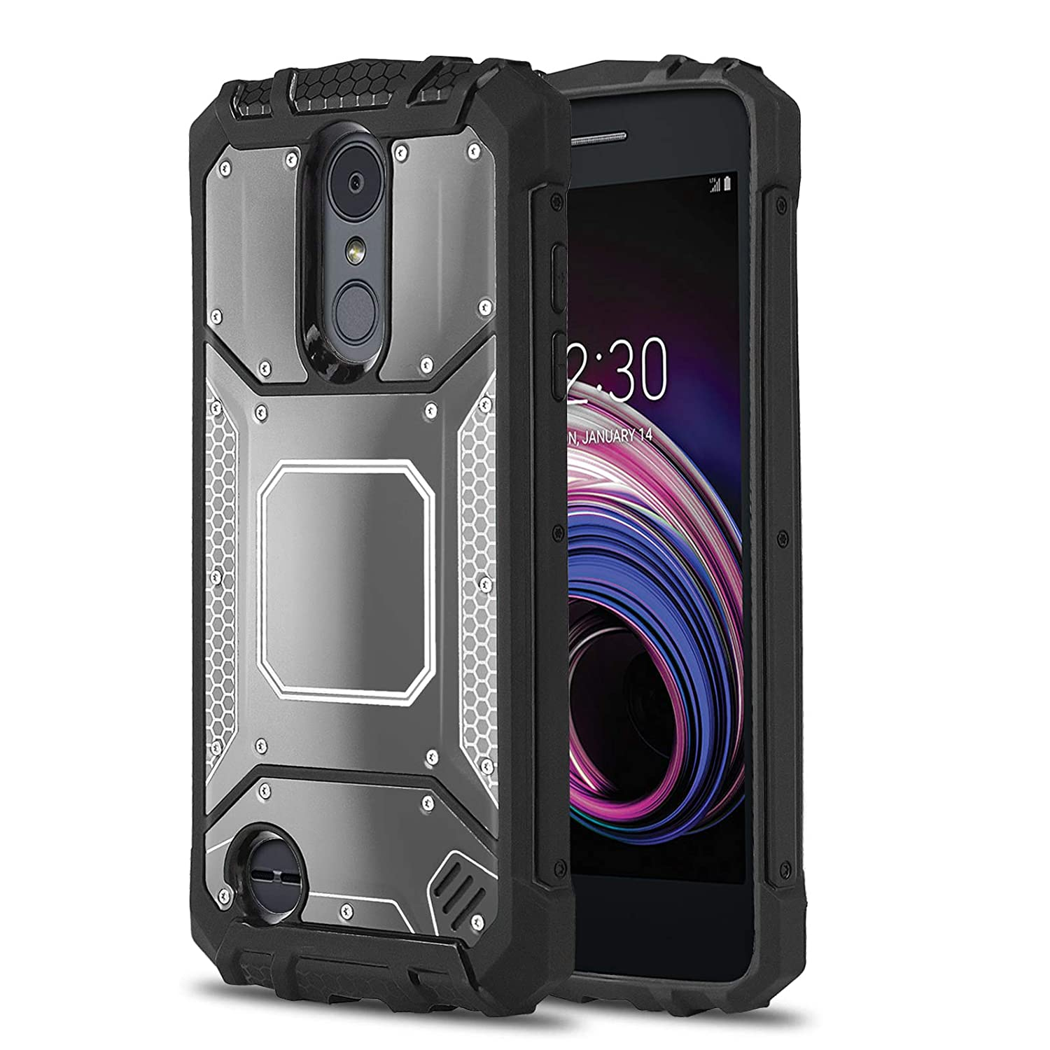 half off e2991 157a9 Phone Case for [LG K8 Plus (2018) US Cellular], [Alloy Series][Gun Metal]  Aluminium [Metal Plate][Military Grade] Shockproof [Impact Resistant] Cover  ...