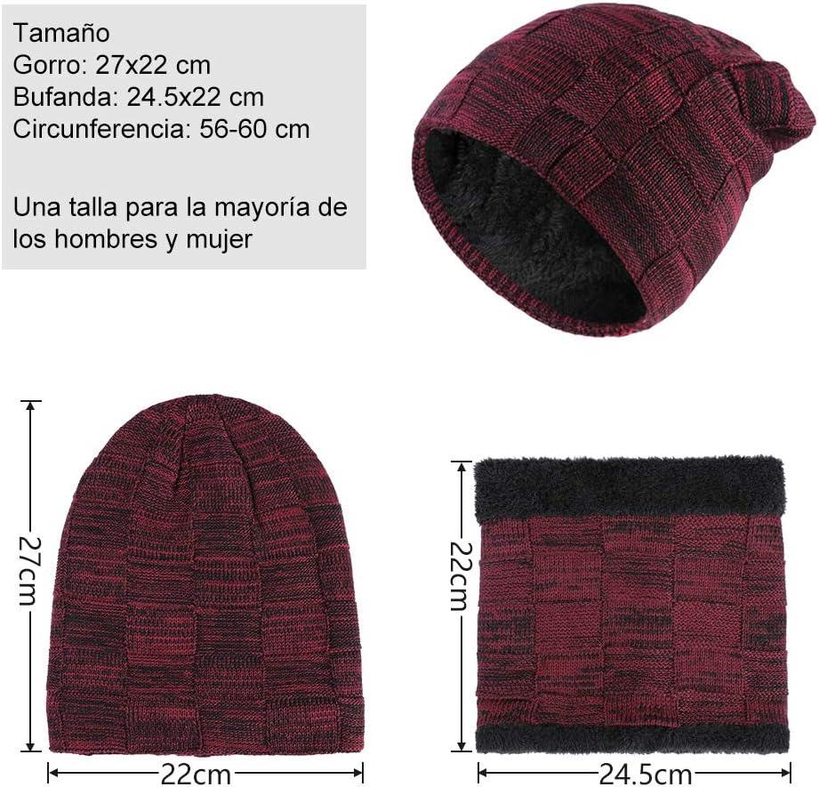 Tuopuda Gorro Bufanda Guantes Set de Invierno para Hombre y Mujer Gorro de punto Bufandas Caliente Guantes de Pantalla T/áctil