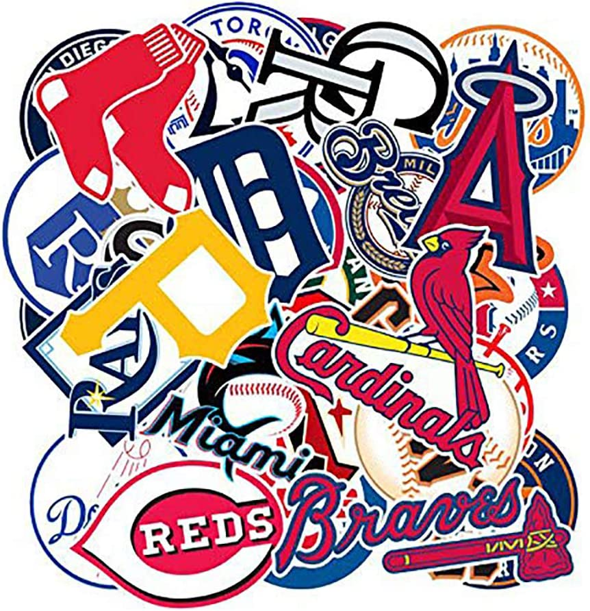 TWSTYFAL Baseball Team Fans Logo Stickers MLB Major League Baseball All 30 Teams Collection Waterproof Vinyl Sticker Include Twins and Brewers for Hydro Flasks Laptops Water Bottle Skateboard 30 Pack