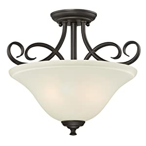 Westinghouse Lighting 6306500 Dunmore Two-Light Indoor Semi-Flush, Oil Rubbed Bronze Finish with Frosted Glass