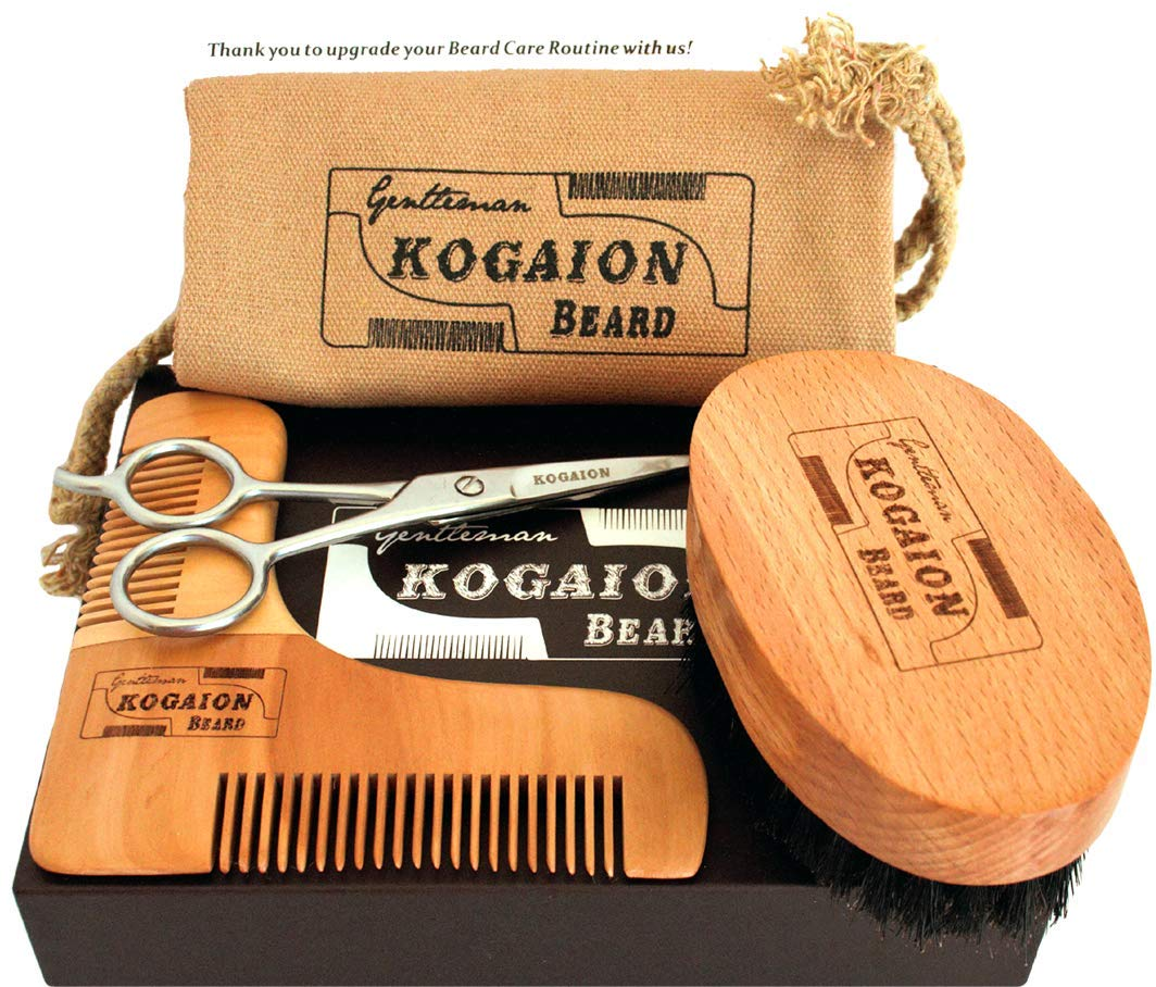 Beard Grooming Male Set - Gifts for Men with Beards - Shaping Wooden Beard Comb + Beard Brush + Moustache Facial Hair Scissors + Cotton Bag + Elegant Gift Box - Perfect Present by KOGAION Yestodays Ltd