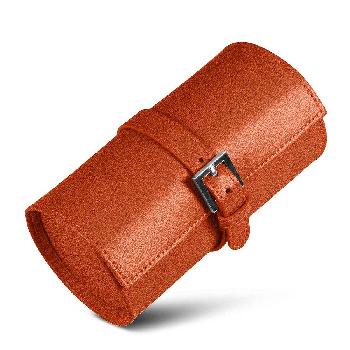 Lucrin - Runden Uhrboxen - Orange - Ziegenleder