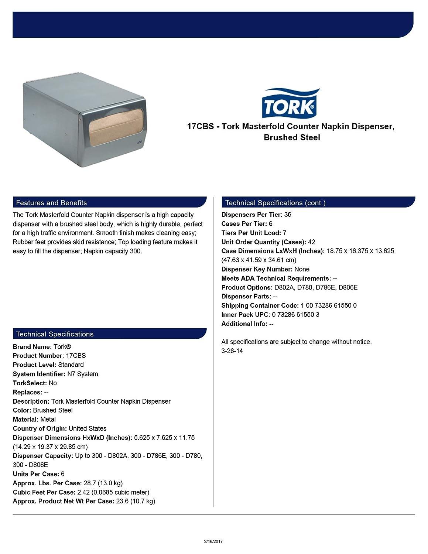 Amazon.com: Tork 17CBS Masterfold Counter Napkin Dispenser, 5.625