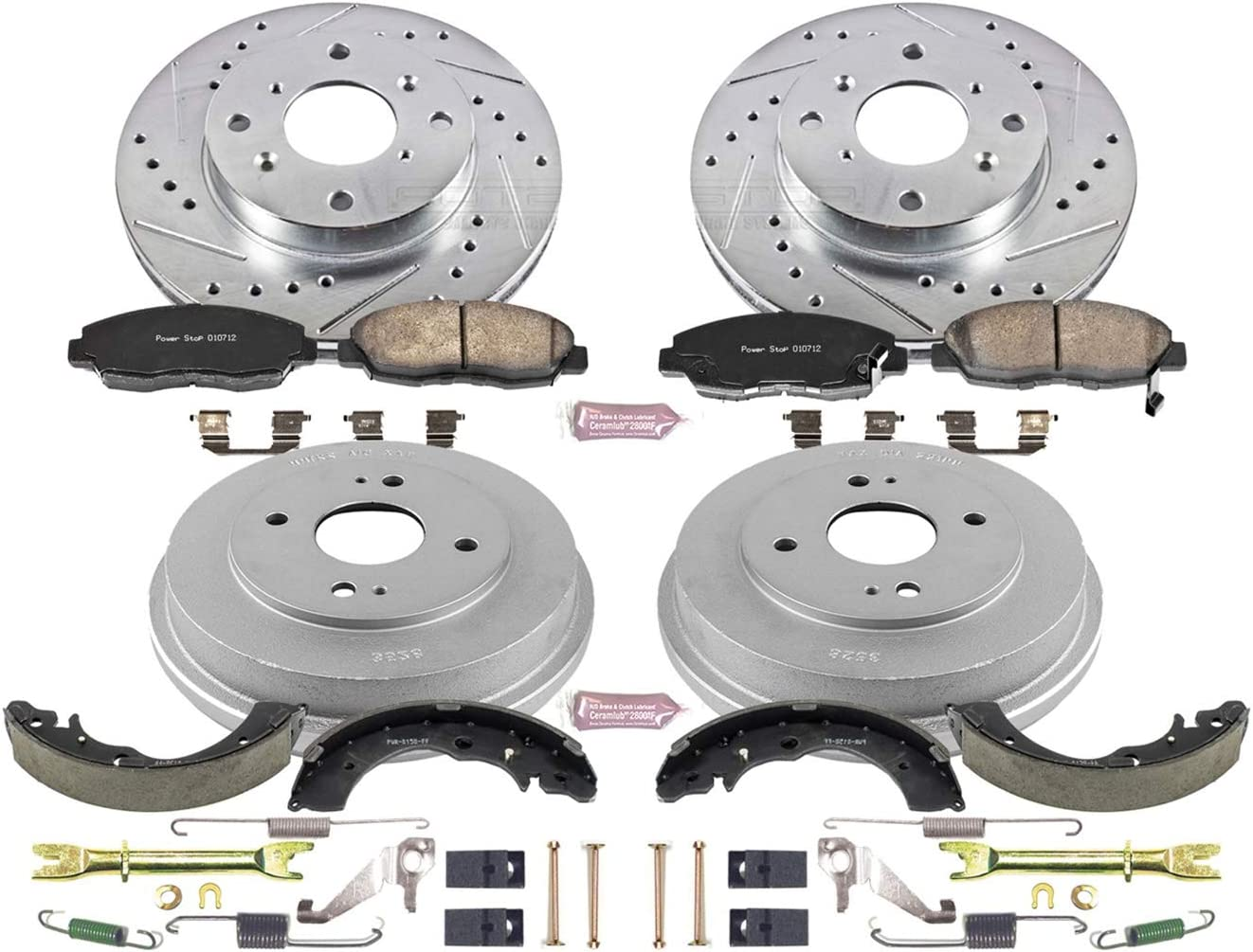 Power Stop Front /& Rear K15063DK Performance Pad Drum and Shoe Kits Rotor