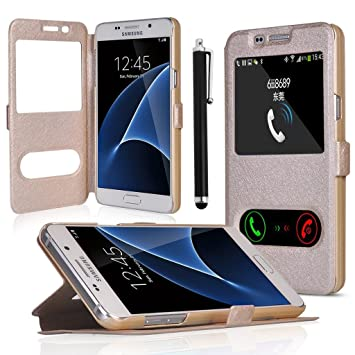 Galaxy J3(2016) Funda, bdeals Wallet Flip Billetera Carcasa Caso Cover Case Funda de Cuero con View Window para Samsung Galaxy J3 2016 + 1 stylus Oro