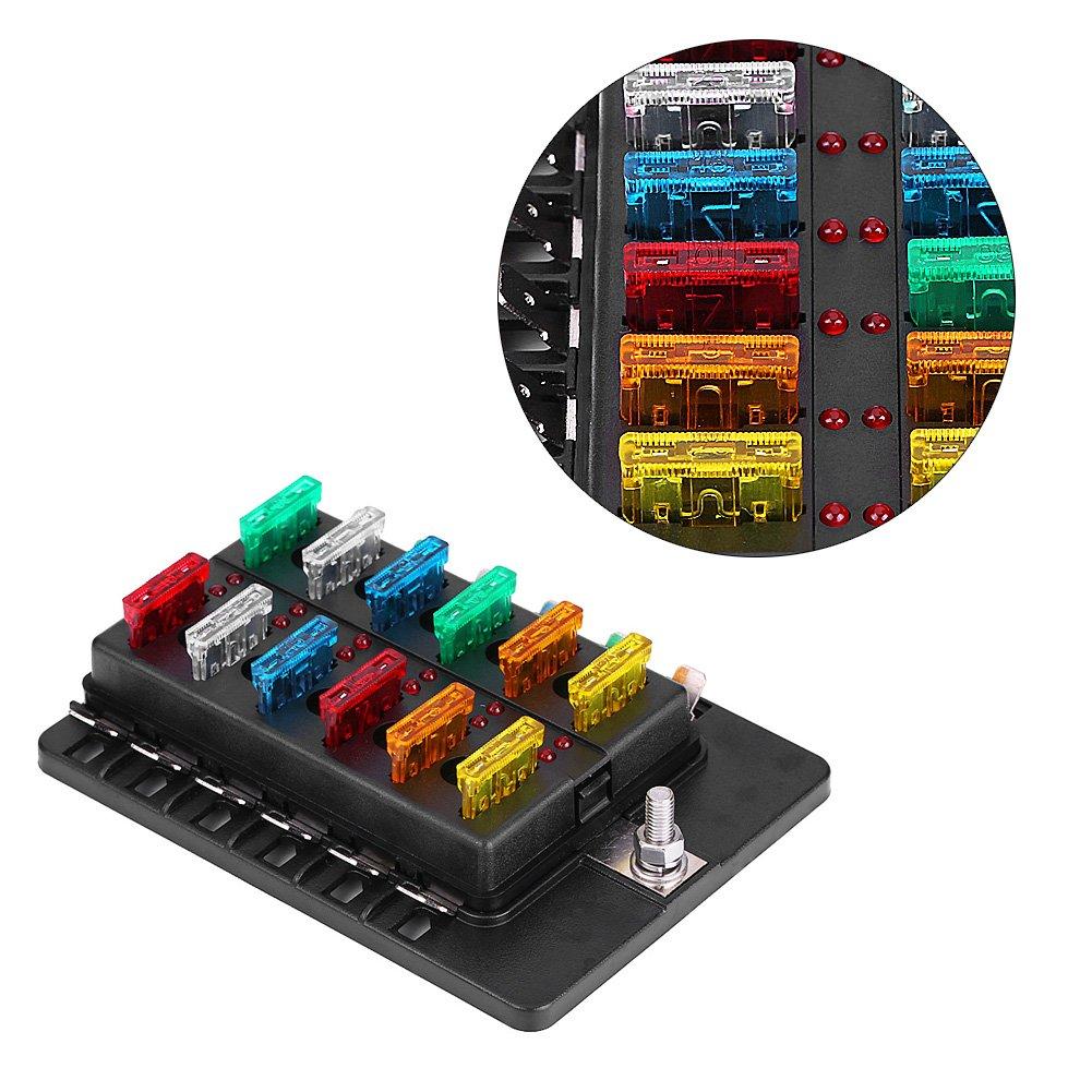 Kit blocco fusibili lamelle scatola portafusibili lama circuito 12 vie Kit supporto blocco ATTO standard ATO con indicatore LED e terminale PC per camion auto auto