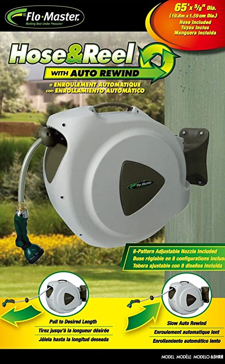 Rl Flo Master 65hr8 Retractable Hose Reel With 8 Spray Pattern Nozzle 65 Foot Amazon Ca Patio Lawn Garden