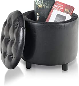 PHI VILLA Storage Ottoman,Black Round Ottoman with Storage Box and Removable Lid, Upholstered Decorative Furniture Ottoman Footrest/Footstool for Living Room,PU Leather,Black