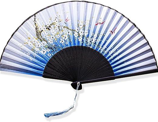 YFZYT Ventilador Mano Bambú con Borla, Ventilador Plegable Japonés ...