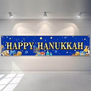 Tatuo Happy Hanukkah Banner Chanukah Party Decorations Home Outdoor Yard Sign Festive Decor Party Supplies