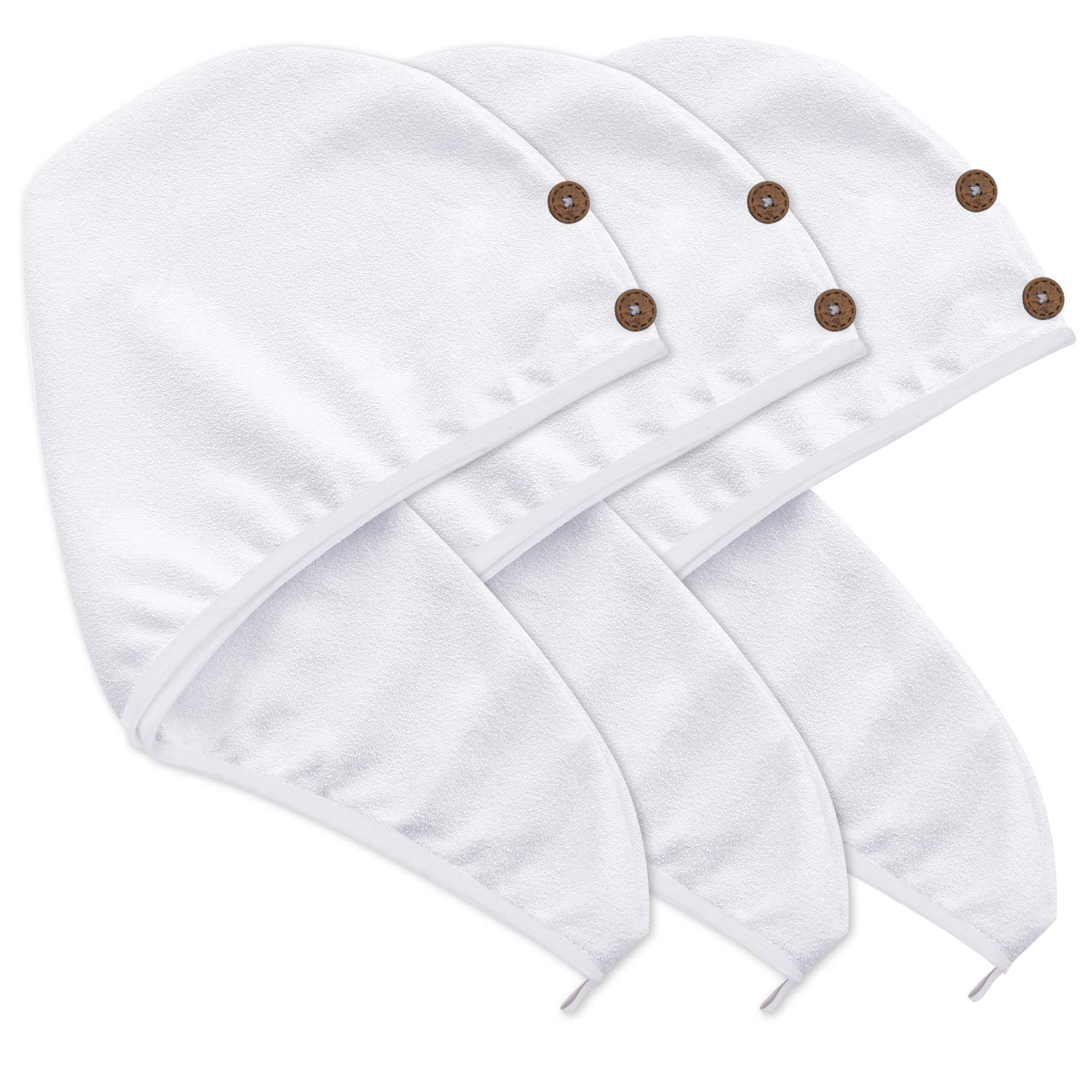 KinHwa Microfiber Hair Towel Wraps for Women Ultra Absorbent Hair Drying Turban with 2 Buttons Fast Drying Bath Hair Drying Towel 10Inch x 23.5Inch 3 Pack White