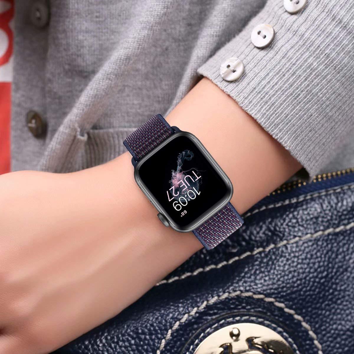 Wengerui Compatibile con Watch Cinturino 42mm/44mm, Morbido Nylon Cinturini di Ricambio Sostituzione per Watch Series 4/ Series 3/ Series 2/ Series 1 (42mm/44mm, Indaco)